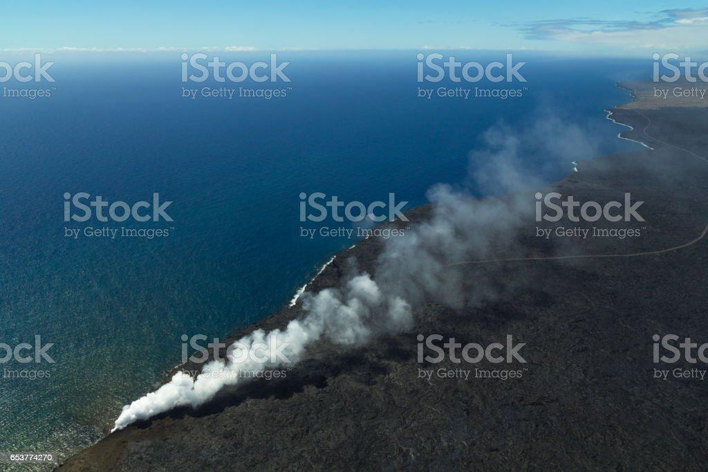 Bird's eye view of Hawaii coast at volcano National Park stock photo