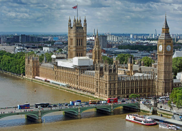 Birds eye view of Houses of Parliament stock photo