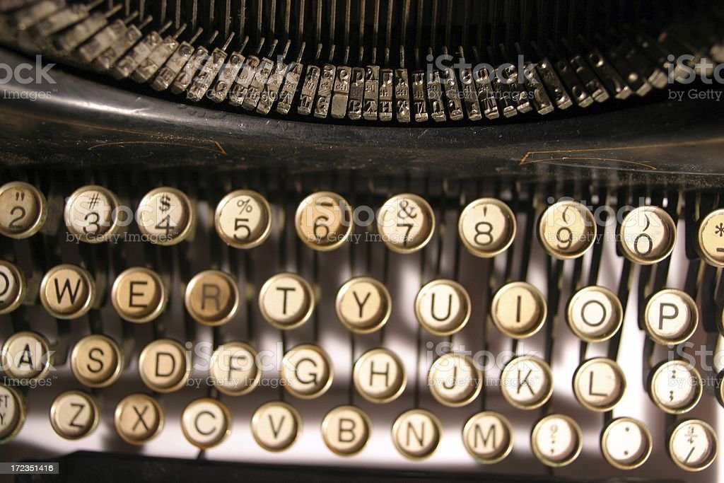 Bird's Eye view of old QWERTY typewriter royalty-free stock photo