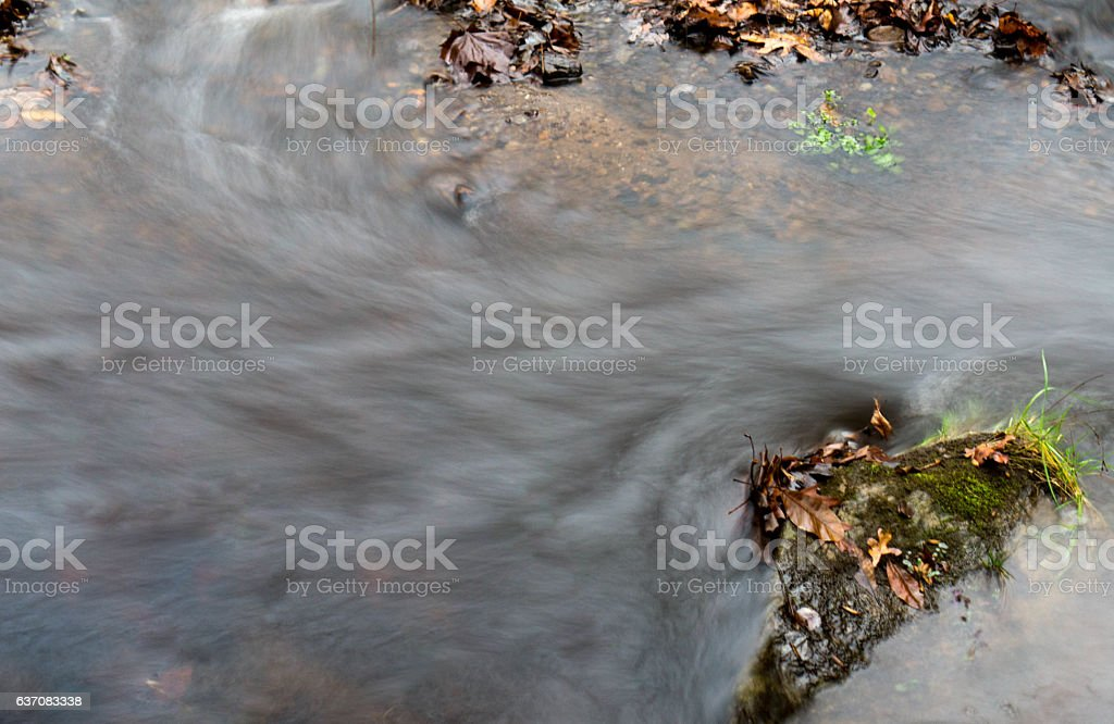 Birds eye View of  silky stream Water stock photo