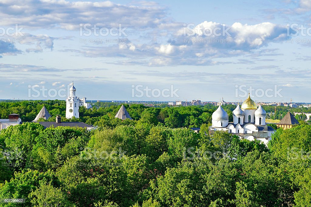 Birds eye view of St Sophia Cathedral with the belfry stock photo