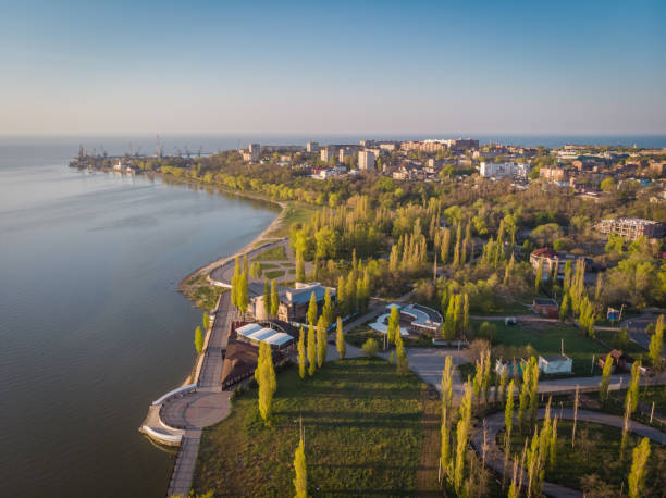 A birds eye view of the central part of the city of Taganrog, Russia on a sunny spring morning stock photo