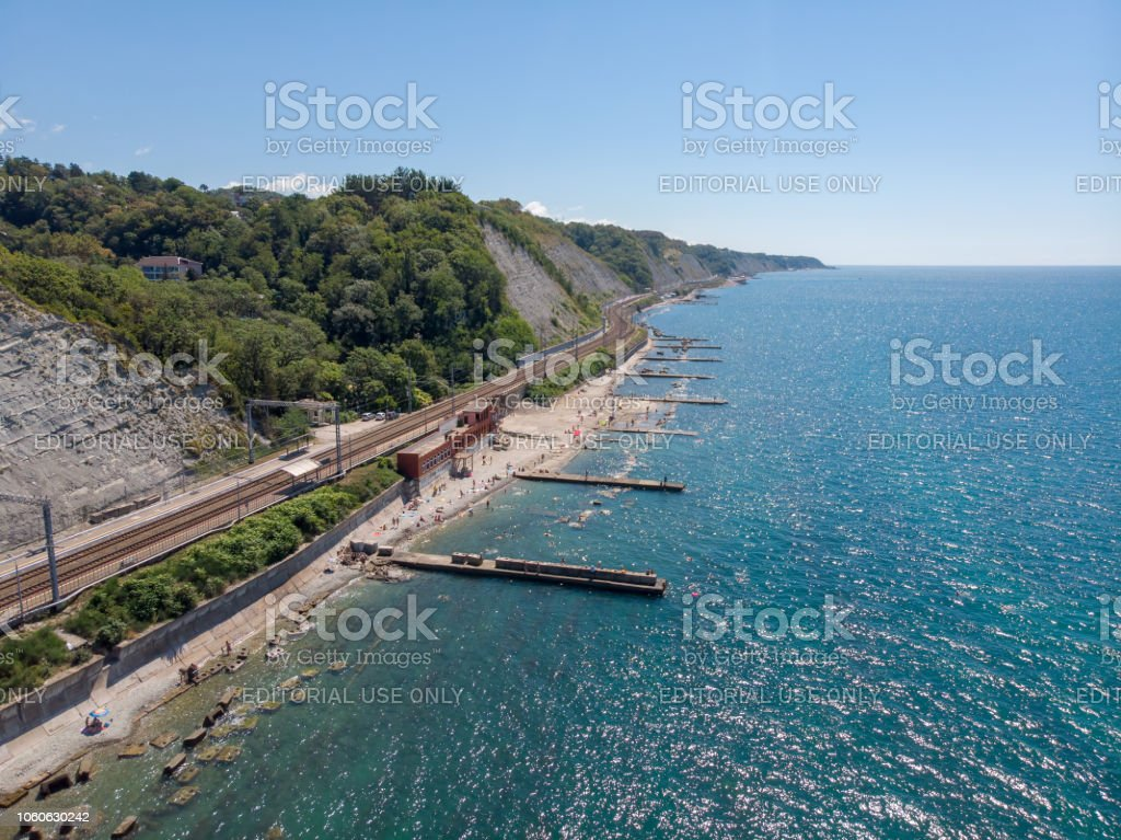 Bird's eye view of the city beach, railway station of the village of Gizel-Dere on a hot sunny summer day stock photo