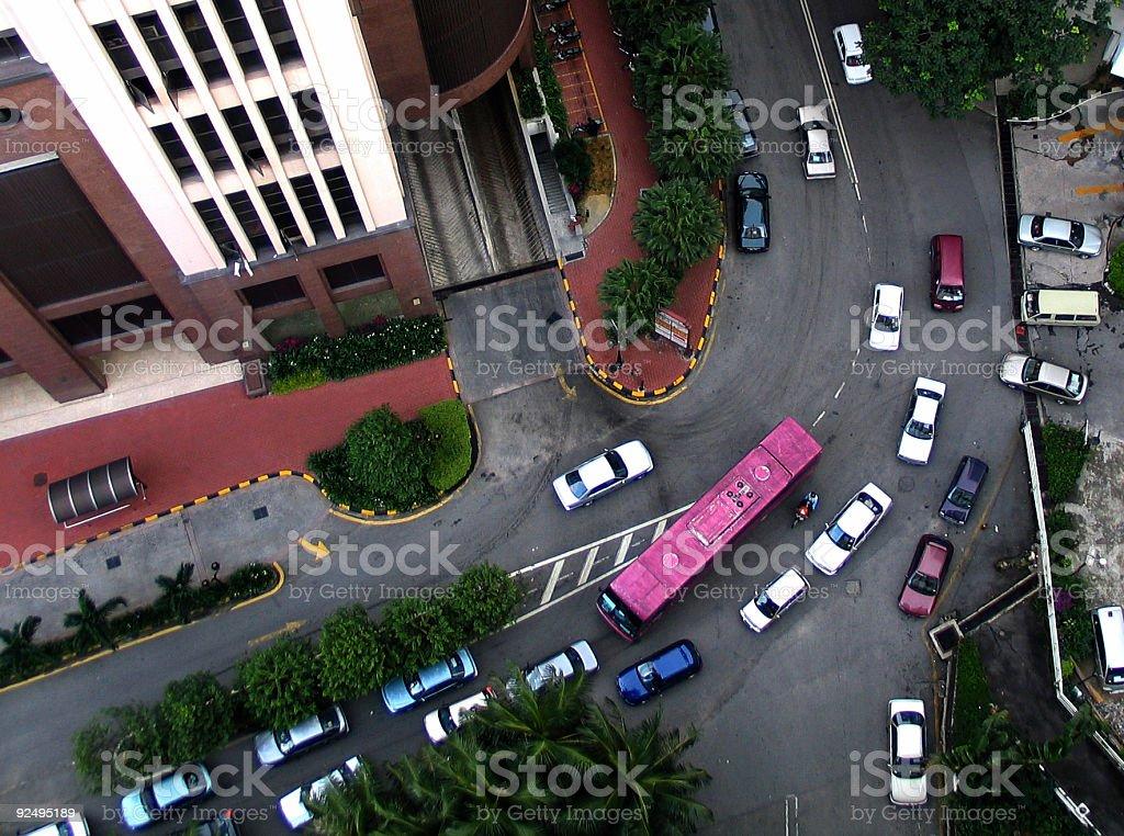 Birds Eye View of Traffic royalty-free stock photo