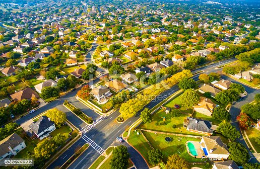 istock Birds Eye View Suburbia Homes Austin Texas Sunset 636233392