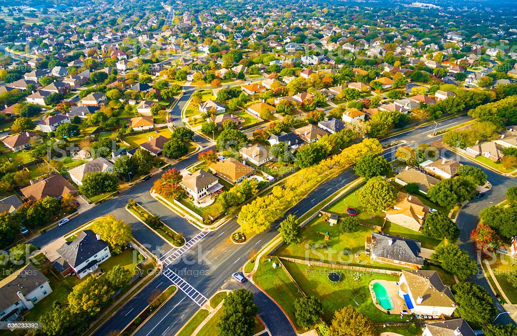 Birds Eye View Suburbia Homes Austin Texas Sunset stock photo