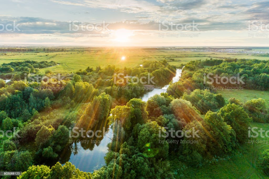Bird's Eye View. Summer Scenic Landscape At Sunset stock photo