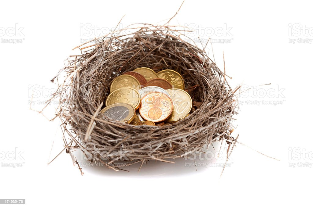 Bird's nest full of coins royalty-free stock photo