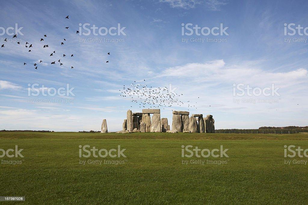 Birds over Stonehenge stock photo
