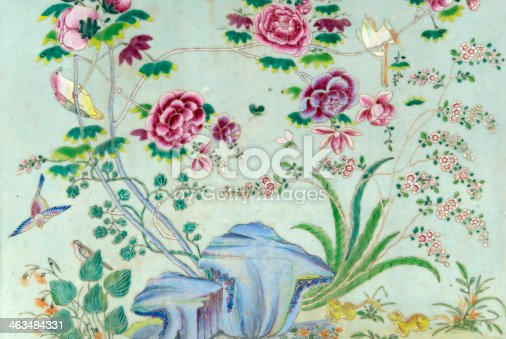 Beautifull decorated tile, showing a nature scene with birds and flowers.