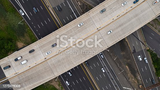 Aerial view on the huge road junction in Keasbey, New Jersey.