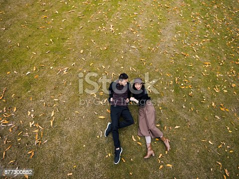 Bird's view of couple of Chinese young people laying on the grass field covered with yellow leaves in autumn day.
