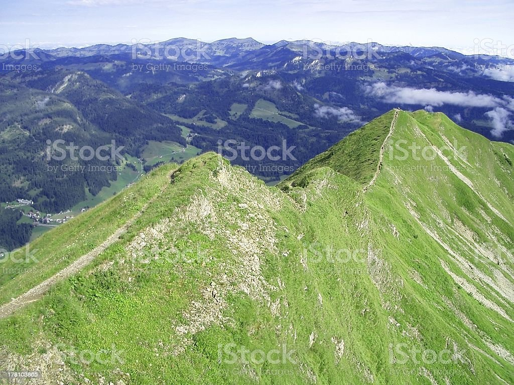 bird's view of path on the top  mountain at Germany stock photo