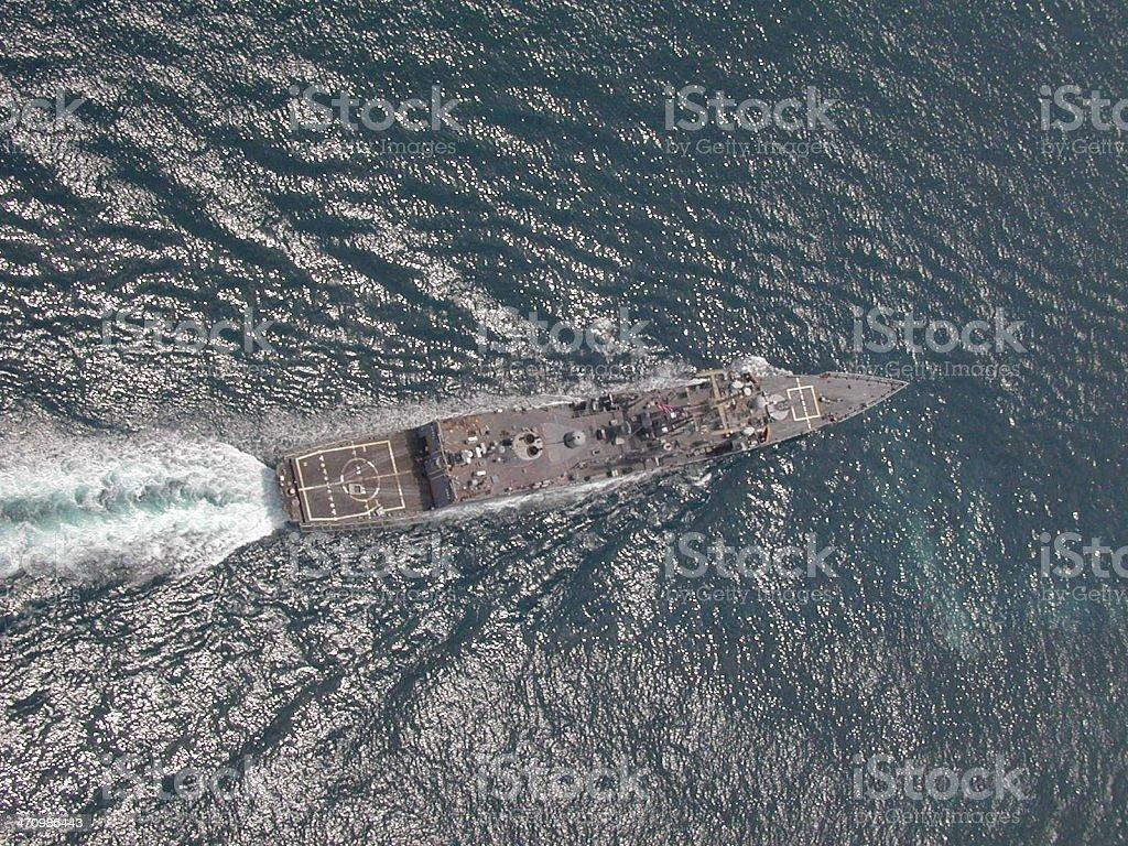 Bird's View of US Navy Ship stock photo