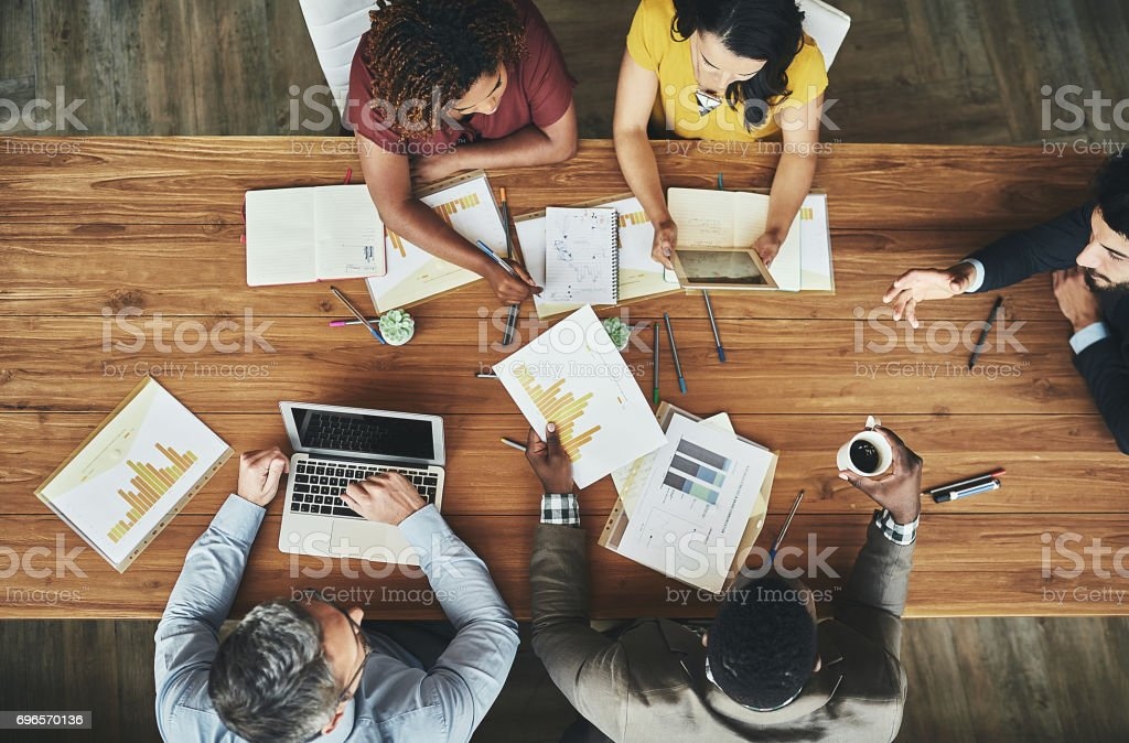 Birds-eye view of business stock photo