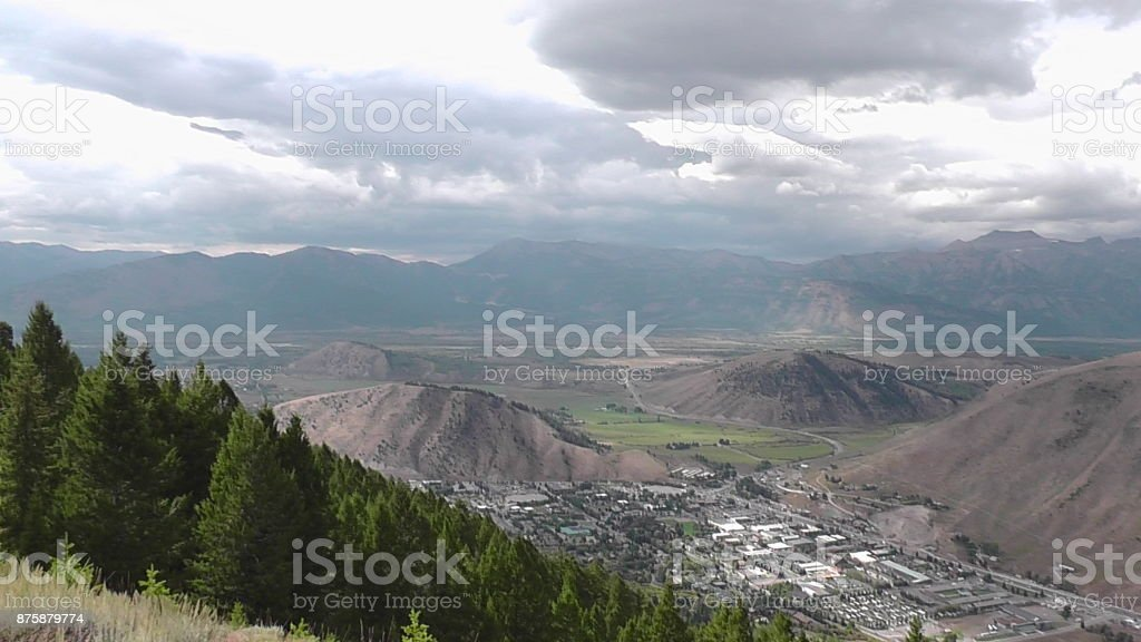 Bird's-Eye View of Jackson Hole, Wyoming stock photo