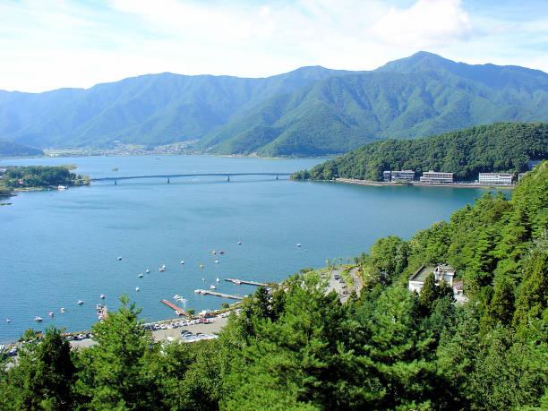 Bird's-eye view of Lake Kawaguchi and the town of Fujikawaguchiko (Japan) A horizontal color photograph with no special filters applied. lake kawaguchi stock pictures, royalty-free photos & images