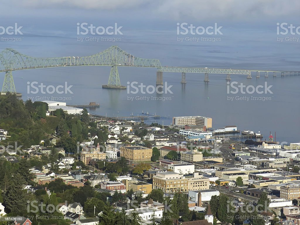 Bird's-eye view of port city in Pacific Northwest stock photo