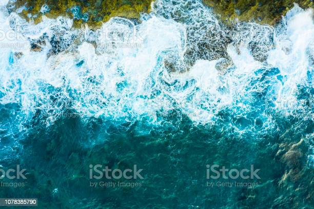 Photo of A bird's-eye view of the wave.Powerful wave. Viewpoint from directly above.