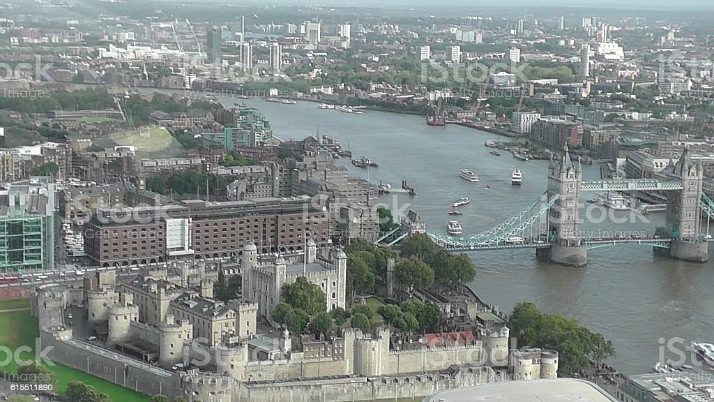 Bird's-Eye View of Tower Bridge and Tower of London, England stock photo