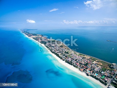VARADERO, CUBA – MAY 25, 2016: Dron flies over tropical island on a clear day. Calm Atlantic Ocean and the bay. It is flying over the city. Height of 500 meters.