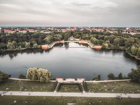 Bird's-eye view to Naturbad Stadtparksee in Hamburg