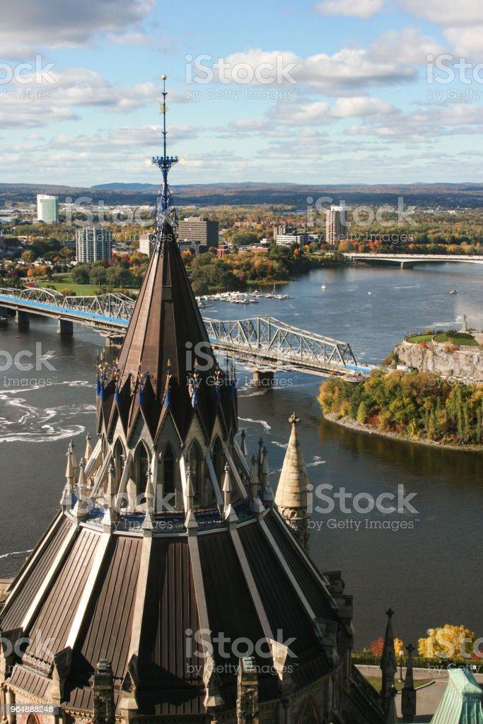 鳥瞰渥太華和議會圖書館屋頂 - 免版稅加拿大圖庫照片
