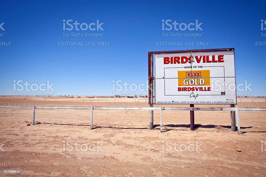 Birdsville Racetrack Sign Outback Queensland Australia stock photo