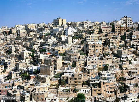 Birdview of Amman the capital of Jordan in the Middle East