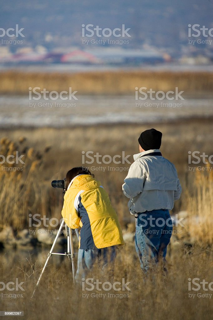 Birdwatching Couple-vertical stock photo