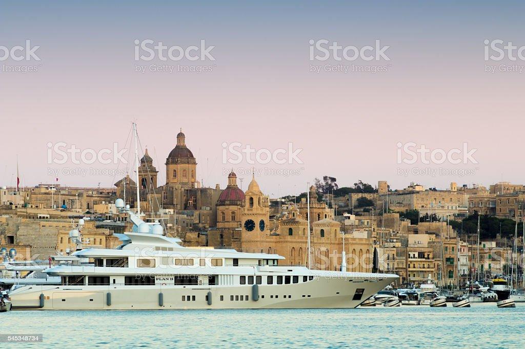 Birgu Marina and Super Yacht, Grand Harbour, Malta, Europe stock photo