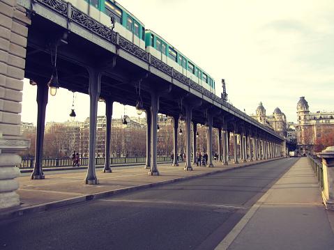 Bir-Hakeim bridge in Paris, France