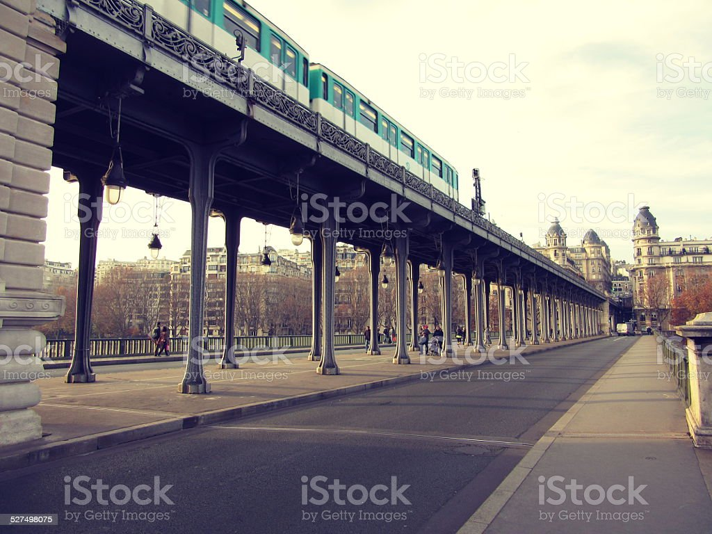 Bir-Hakeim bridge in Paris, France stock photo