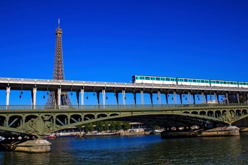 Bir-Hakeim bridge in Paris with the Eiffel Tower behind it