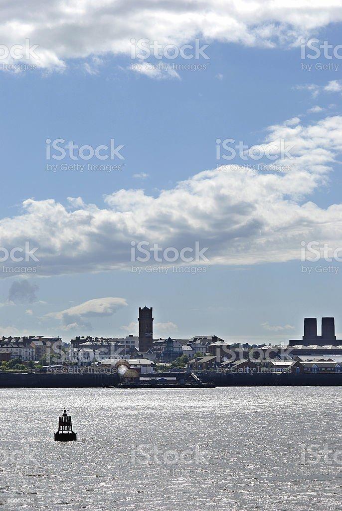 Birkenhead landscape with buoy stock photo