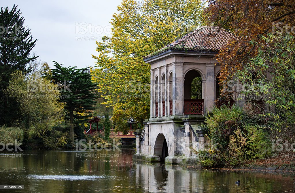 Birkenhead Park Old Boat House stock photo