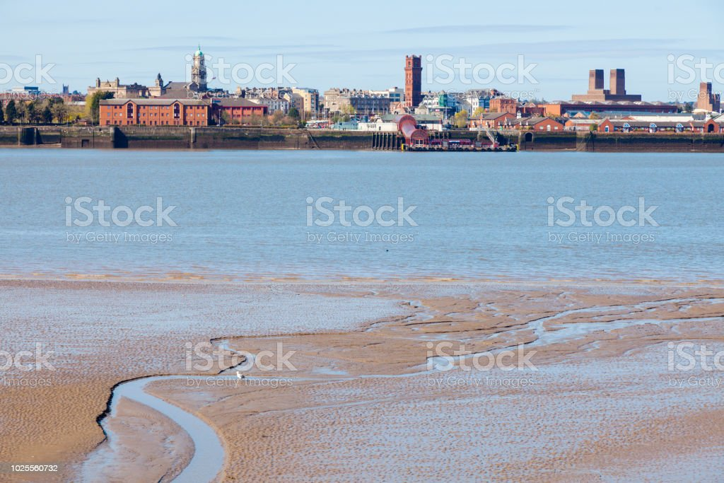 Birkenhead seen from Liverpool stock photo