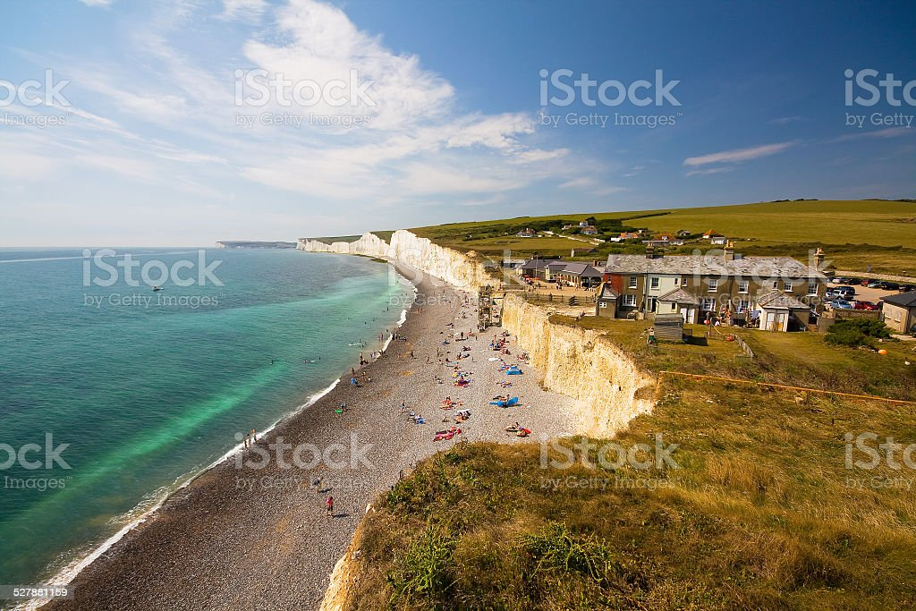 Birling Gap cottages. stock photo