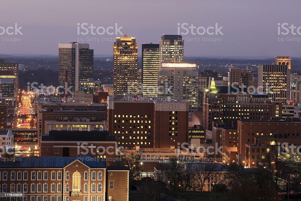 Birmingham, Alabama skyline at dusk stock photo