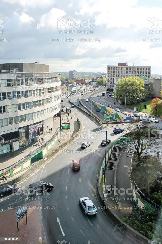 Birmingham city center street scene, 16. october 2010, United Kingdom, view from a hotel window stock photo