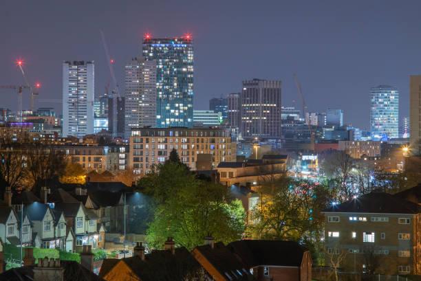 Das Stadtzentrum von Birmingham in der Nacht. – Foto