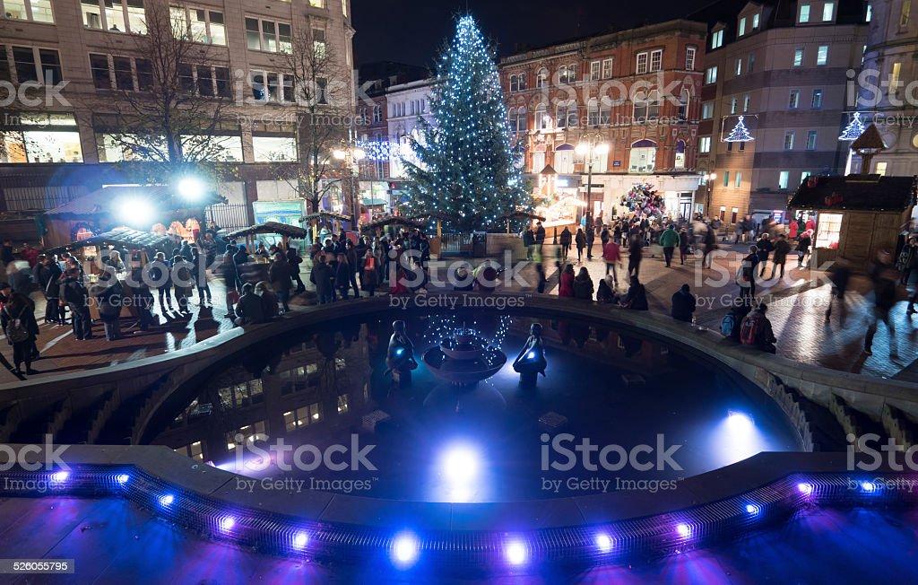 Birmingham Christmas Lights.Birmingham City Centre Christmas Tree And Lights Stock Photo