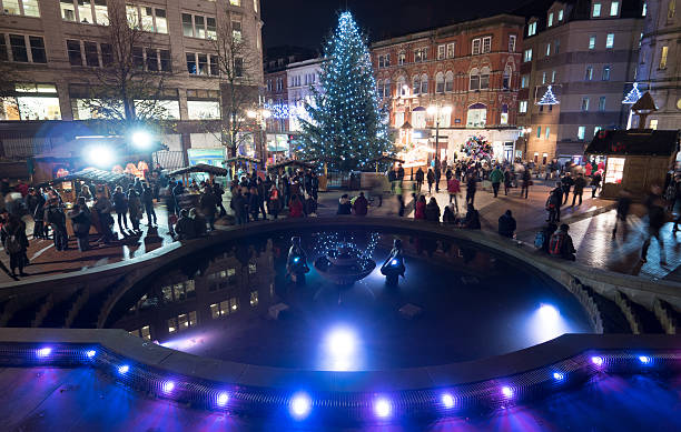 Birmingham city centre Christmas tree and lights. stock photo