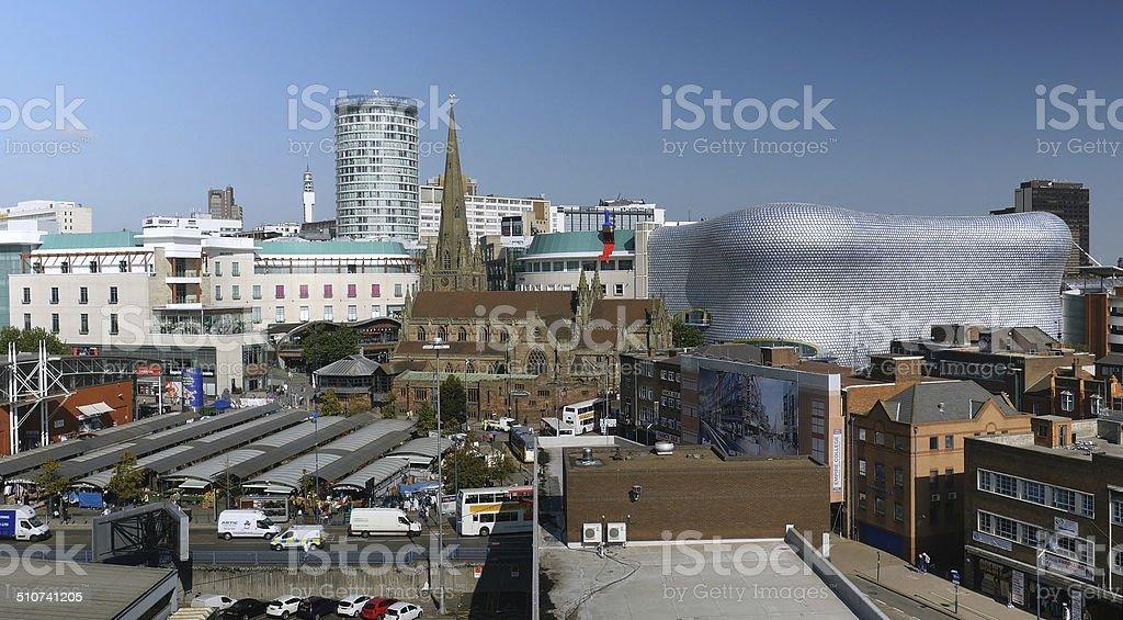 Birmingham city centre, Rotunda, Bull Ring, Selfridges, Market. stock photo