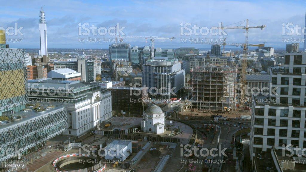 Birmingham city centre under construction 2018. stock photo