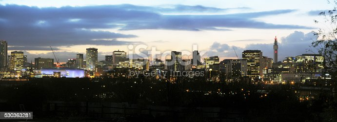 Panaramic View of Birmingham City Skyline at Dusk,Uk, 2014.
