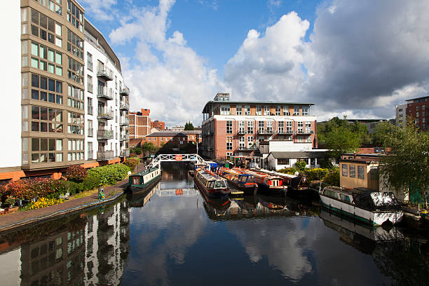 Birmingham England canals Typical houseboats in West Midlands, Birmingham England, urban landscape canal stock pictures, royalty-free photos & images