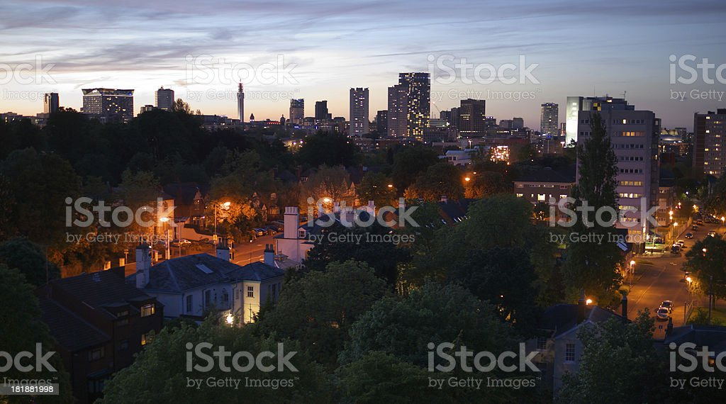 Birmingham, England City Centre Skyline at Dusk stock photo