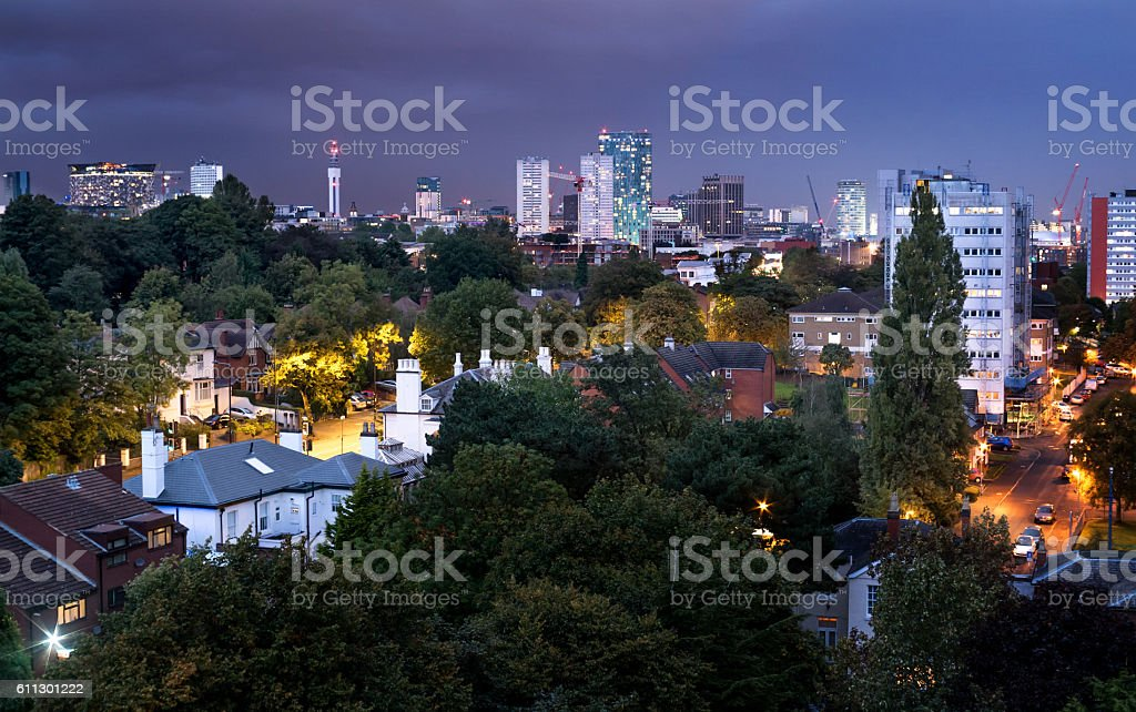 Birmingham, England city centre skyline dusk panorama. stock photo