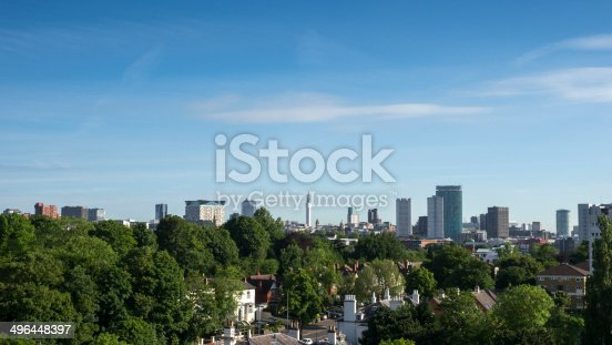 Skyline of the towers, office blocks and hotels of Birmingham's city centre seen from Edgbaston.